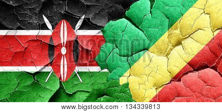 Kenya flag with congo flag on a grunge cracked wall