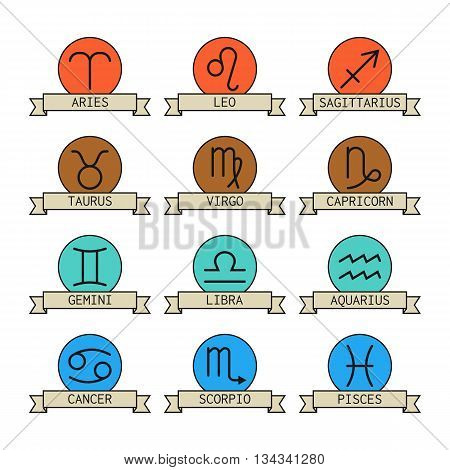 Signs of the zodiac for horoscope and predictions. Vector illustration
