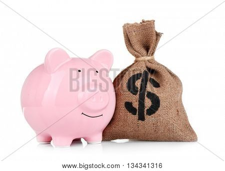 Sack with money and pig moneybox on white background