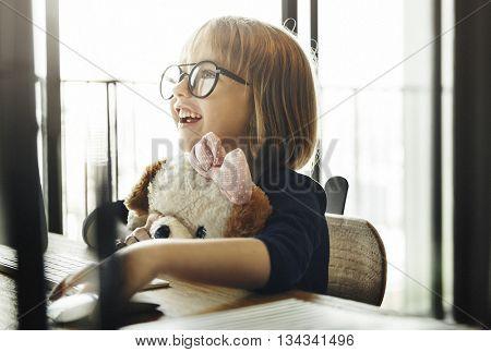 Kid Surfing Computer Internet Lifestyle Concept