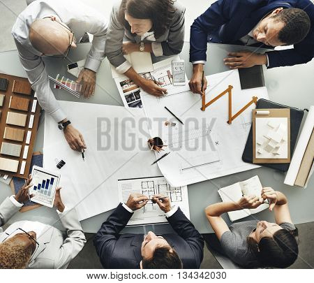 Business People Planning Blueprint Architecture Concept
