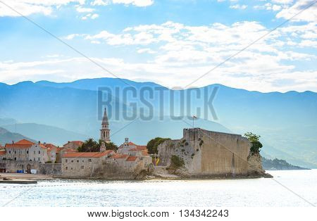 Morning in Old Town of Budva. Montenegro, Balkans, Europe. Budva - One of the Most Popular Resorts of Adriatic Riviera of the Mediterranean