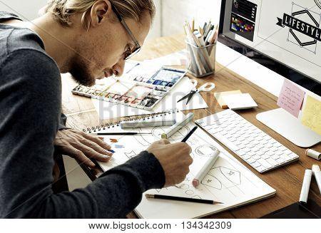 Design Artist Coloring Man Work Concept