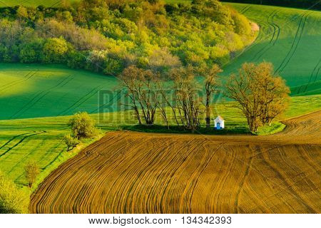 Santa Barbara chapel landscape at spring in South Moravia, Czech Republic