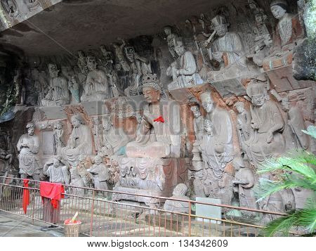TThe complex of Buddhist rock sculptures Piludong located about 45 km south-east of the county capital Anyue, province Sichuan, China. The most impressive part of the complex are grotto of Buddha Vairocana (Pilu dong) and the famous sculpture of Guanyin.