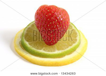 Strawberry On Lemon And Lime Slices