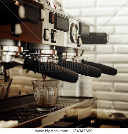Portafilter Cafe Coffee Restaurant Prepare Machine Concept