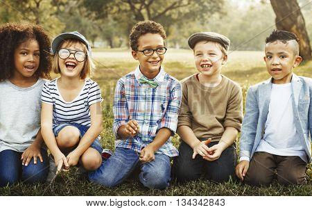 Friendship Trendy Playful Leisure Children Kids Concept