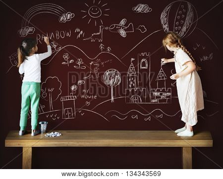 Girl Sister Drawing Creative Ideas Imagination Concept