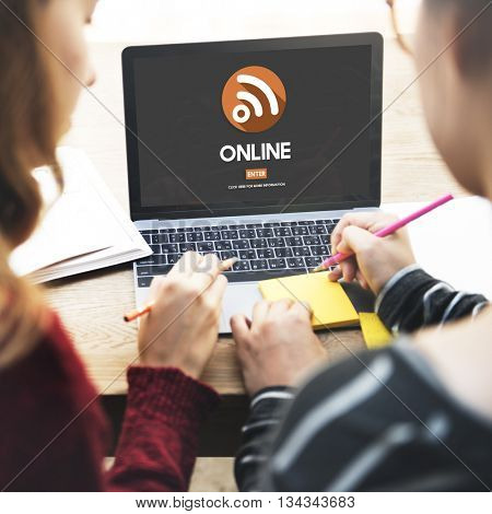 Onine Connection Media Network Sharing Concept