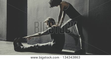 Partner Training Stretching Workout Couple Concept