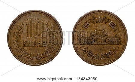 Ten Japanese Yen Coin Front And Back Faces