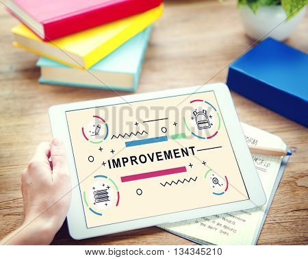 Improvement word tablet graphic Concept