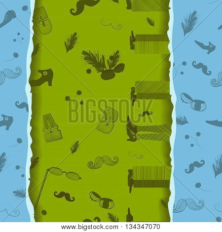 Retro Seamless Pattern with hipster items. Vintage fashion. Gray items with blue background. Black items with green background. Effect of paper ragged edge. Illustration.