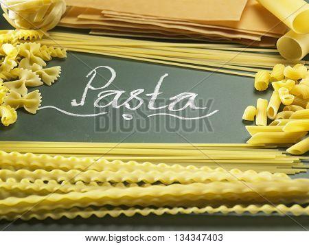 various of pasta on the blackboard