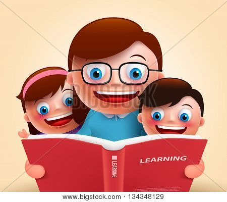 Reading book for story telling by happy smiling teacher and kids holding red book for learning. Vector illustration