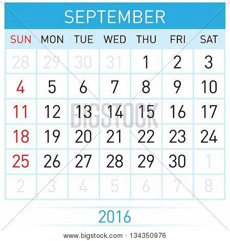 September Twenty-Sixteen. Calendar Month. Illustration on white background
