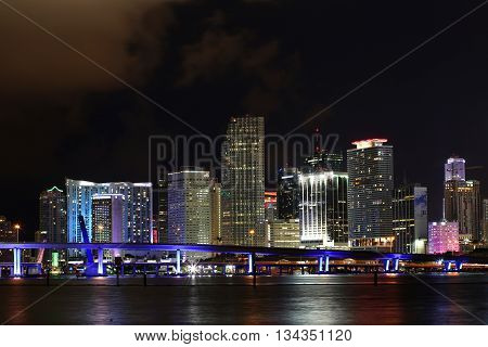 Downtown of Miami night skyline. Landscape. City.