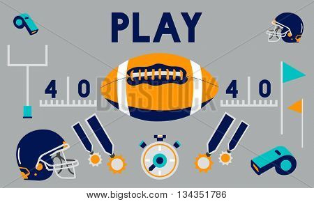 Play Quarterback Rugby American Football Concept