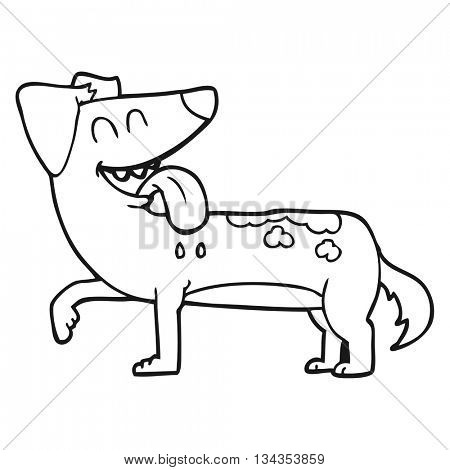 freehand drawn black and white cartoon panting dog