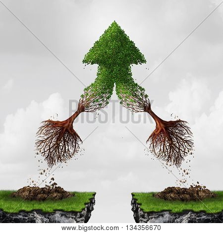 Team and teamwork collaboration concept as two flying uprooted trees combining together in friendship and mutual benefit creating an upward arrow as a business metaphor for courage in a 3D illustration style.