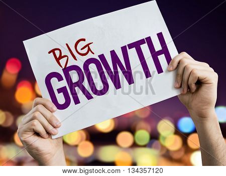 Big Growth placard with night lights on background