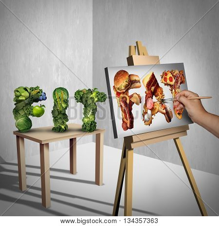 Food temptation concept as a green vegetables shaped as the word fit with a painter painting the text fat made of greasy fast food as a nutrition health metaphor for craving and having an obsession with unhealthy snacks with 3D illustration elements.