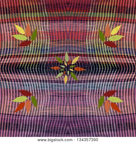 Tapestry weave grunge striped wavy colorful seamless pattern with floral elements