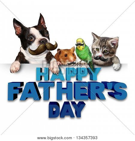 Fathers day greetings fun concept as a group of pets with mustaches or moustache symbols as a humorous celebration of dad and fatherhood parenting with 3D illustration eleements.