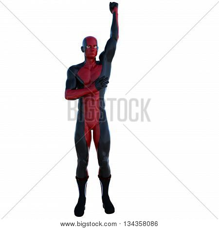 a young man in red black super suit. Welcomes the lifting arm to the top. Latex. 3D rendering, 3D illustration