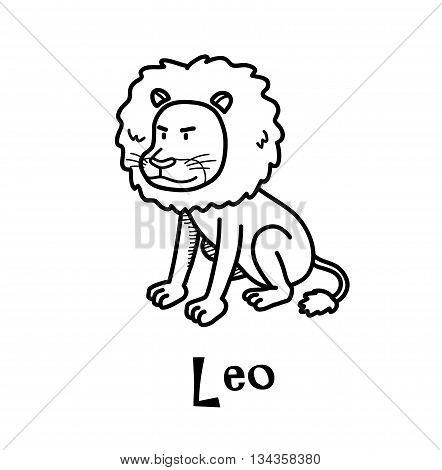 Leo Zodiac, a hand drawn vector cartoon doodle illustration of Leo zodiac, The Lion.