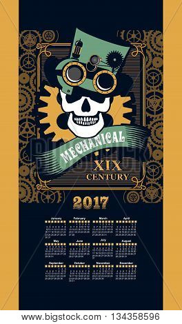 Calendar 2017 mechanical steam punk the inventor of a skull wearing a hat and sunglasses