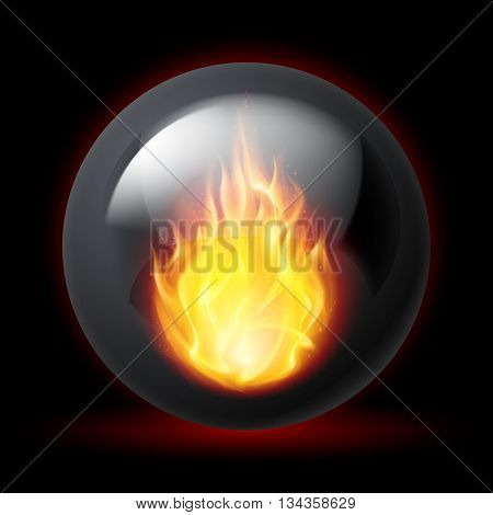 Black sphere with fire flames inside on dark background