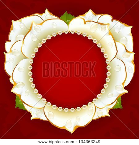Vector white Rose heart frame with pearl necklace