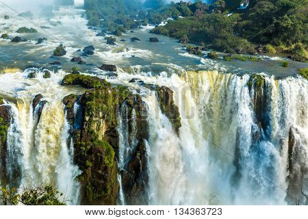 Iguassu Falls, the largest series of waterfalls of the world, located at the Brazilian and Argentinian border. View from Brazilian side.
