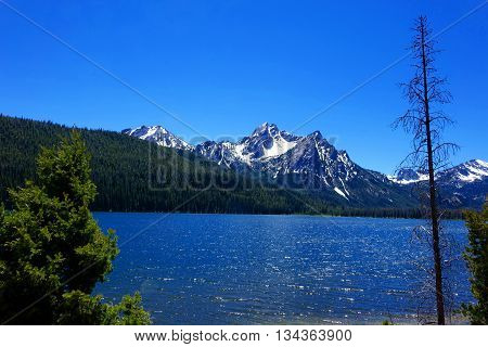 Mt. McGowan is located in Idaho's Sawtooth Mountains and provides a beautiful background behind Stanley Lake.