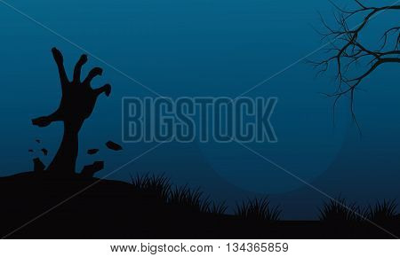 Halloween hand zombie in land vector silhouette