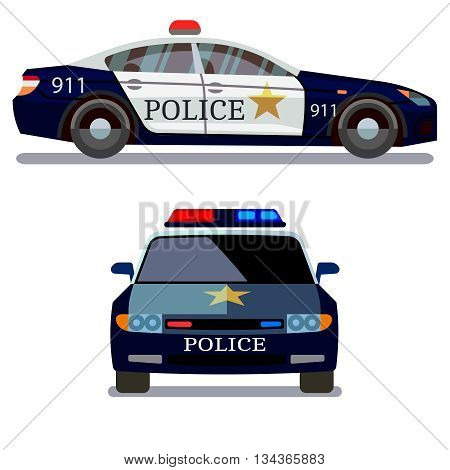 Police vehicle on white background. Police car front and side view vector