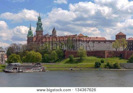 View on Wawel Royal Castle and Vistula boulevards Krakow Poland. poster