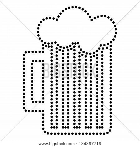 Glass of beer sign. Dot style or bullet style icon on white.