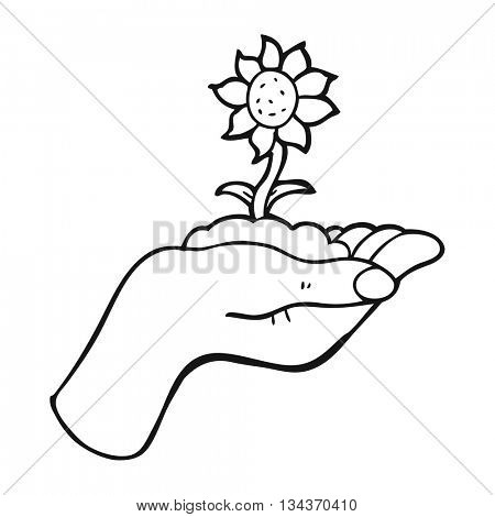 freehand drawn black and white cartoon flower growing in palm of hand