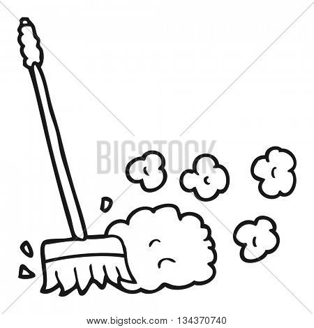 freehand drawn black and white cartoon sweeping brush