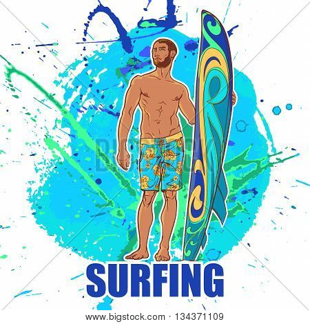 Athletic shaped trendy surfer  with surfboard. Front view. Grunge background with paint spots and splashes. EPS10 vector illustration.