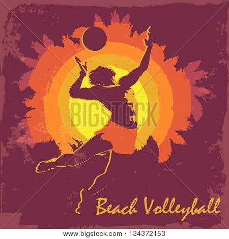 Young athletic man serving an overhead ball in beach volleyball. Dynamic pose. Silhouette. Vintage design. EPS10 vector illustration.
