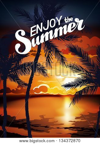 Hello Summer Beach Party Flyer. Summer sunset vector lettering background. Tropic Summer fun vacation and travel. Tropical poster colorful background and palm exotic island.