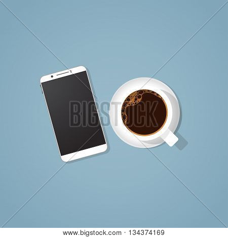 Realistic coffee cup with black coffee in it with foam and bubbles. Realistic mobile phone with big screen. Business concept coffee break with business phone.