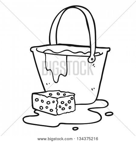 freehand drawn black and white cartoon bucket of soapy water