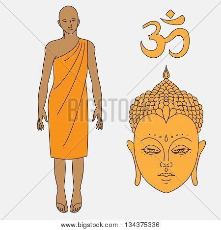 Outline buddhist monk, Head of Buddha. Om sign. Isolated icons of Mudra. Beautiful detailed, serene. Vintage decorative elements. Indian, Hindu motifs. Outline buddhist monk, vector