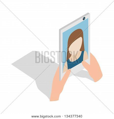 Girl taking selfie photo on smartphone icon in isometric 3d style on a white background