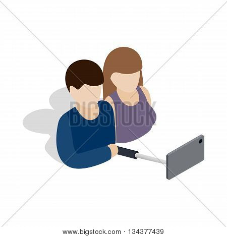 Young couple taking selfie photo together icon in isometric 3d style on a white background